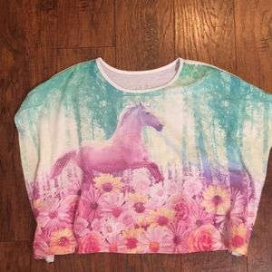Justice girls glittery unicorn and flowers shirt